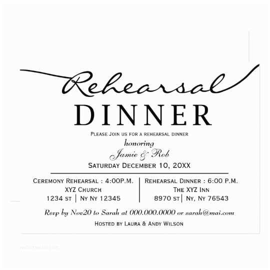 Invitations for Rehearsal Dinner Black White Elegant Script Rehearsal Dinner Invite