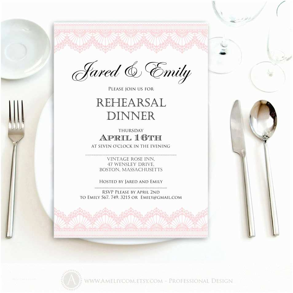 Invitations for Rehearsal Dinner Rehearsal Dinner Invitation Printable Template Pink Lace
