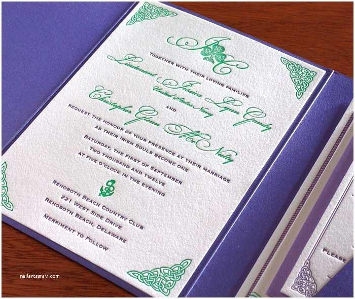 Irish Wedding Invitations Celtic Letterpress Wedding Invitation Gallery Teagan