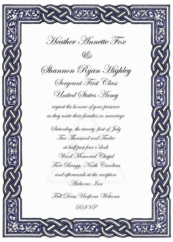 Irish Wedding Invitations Celtic Wedding Invitations
