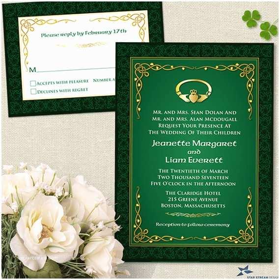 Irish Wedding Invitations Claddagh Ring Celtic Knots Irish Wedding Stationery Set