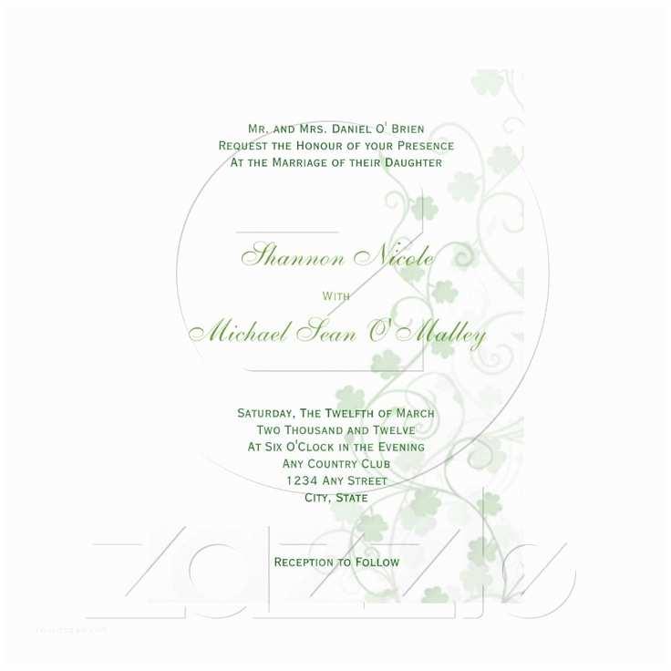 Irish Wedding Invitations Clover Irish Wedding Invitation