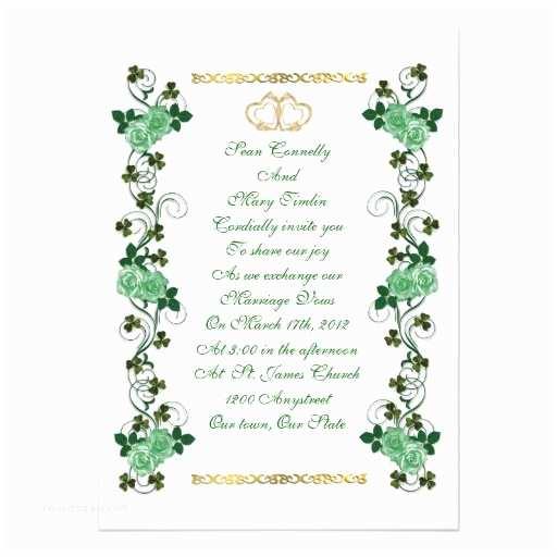 "Irish Wedding Invitations Irish Wedding Invitation Shamrocks and Green Roses 5"" X 7"