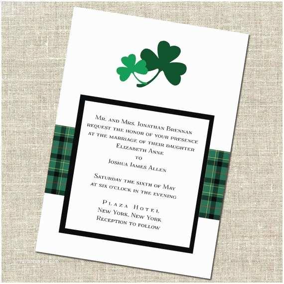 Irish Wedding Invitations Items Similar to Double Shamrock Irish Wedding Invitation