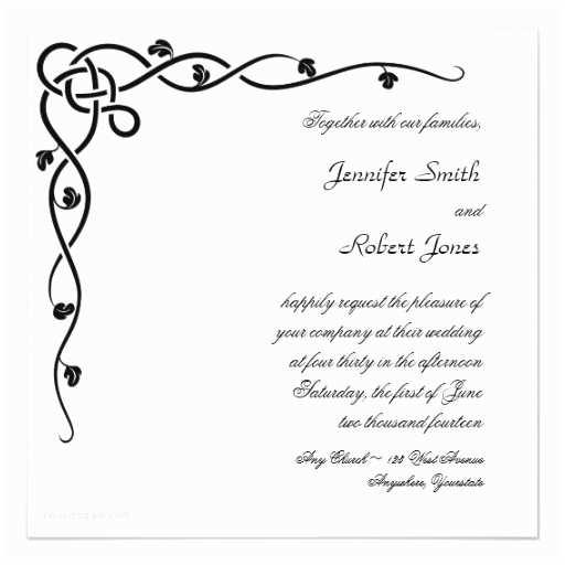 Irish Wedding Invitations Templates Black Celtic Knot Corner Vine Wedding Invitation 5 25