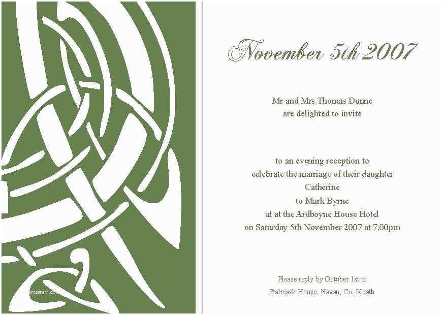 Irish Wedding Invitations Templates Celtic Wedding Invitations Template