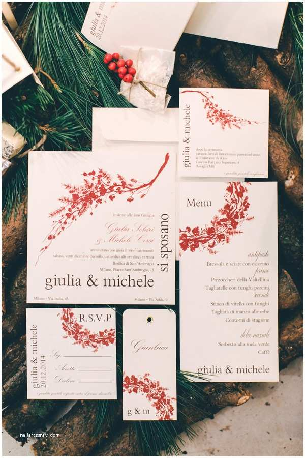 Italian themed Wedding Invitations An Italian Christmas Wedding Scene · Ruffled