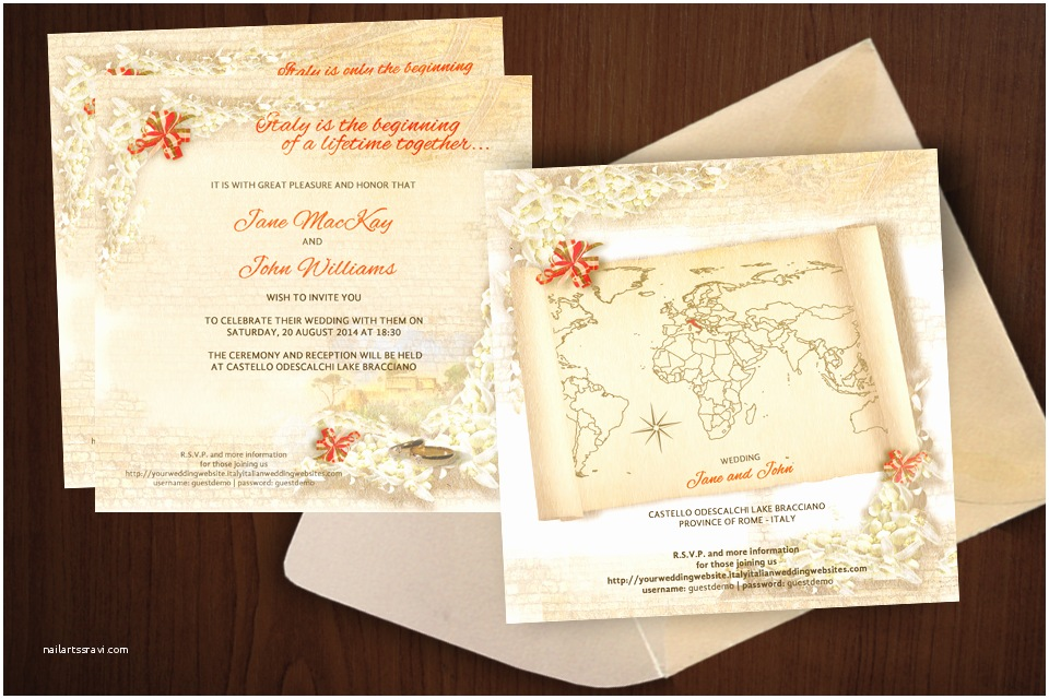 custom italian themed wedding invitations