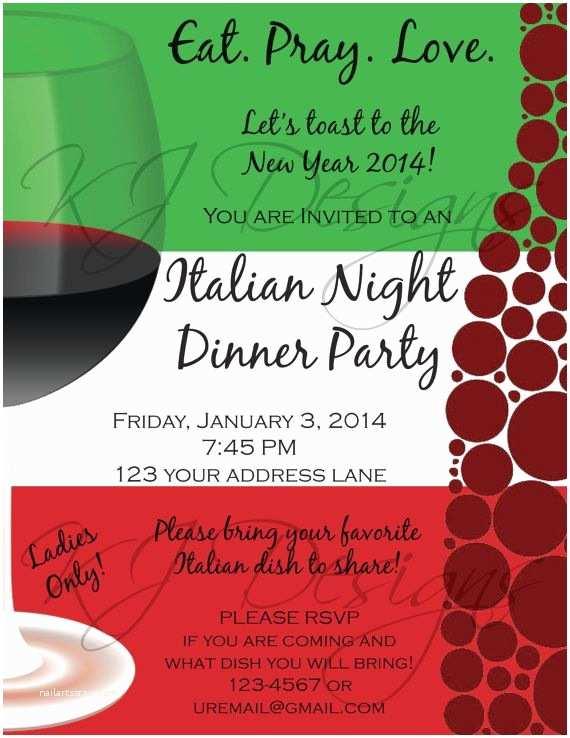 Italian themed Wedding Invitations Dinner Party Invitation Digital Version Italian themed