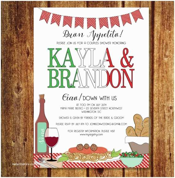 Italian themed Wedding Invitations Italian Couples Shower Invitation Italian Rehearsal Dinner