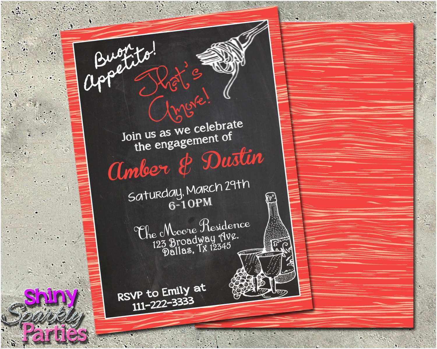 Italian themed Wedding Invitations Italian theme Italian Invitations Engagement Party