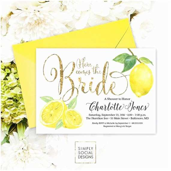 Italian themed Wedding Invitations Lemon Bridal Shower Invitation Fresh Lemon and Faux Gold