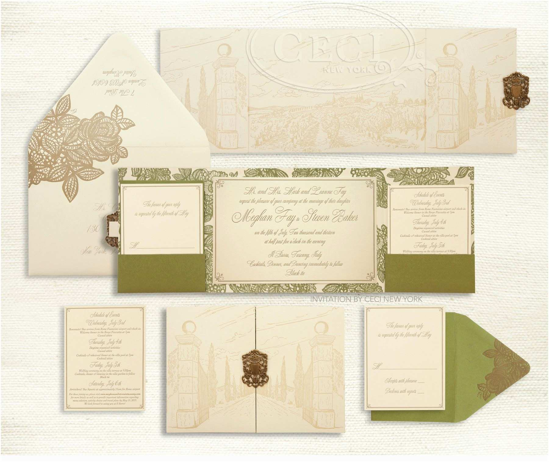 Italian themed Wedding Invitations Luxury Wedding Invitations by Ceci New York Our Muse