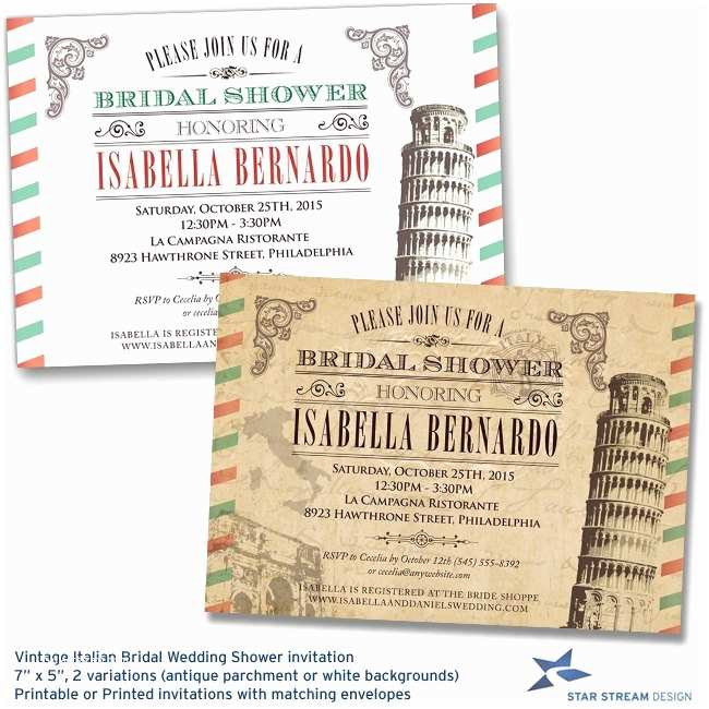 Italian themed Wedding Invitations Vintage Italian Bridal Wedding Shower by Starstreamdesign