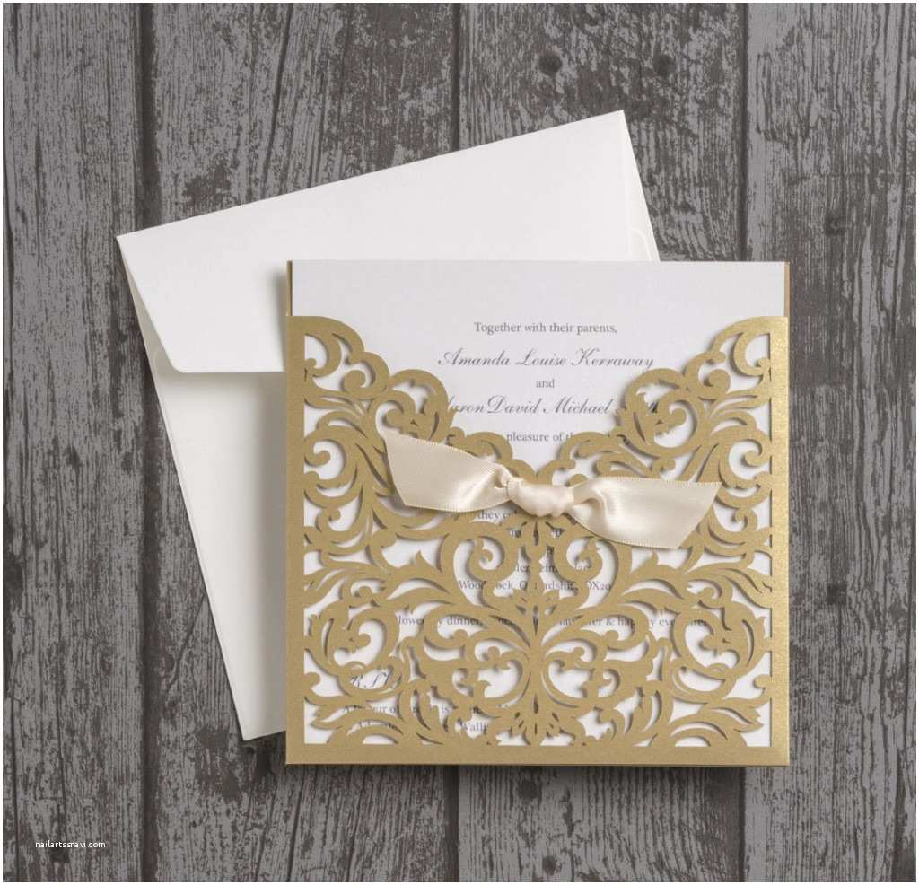 Ivory and Gold Wedding Invitations Beautiful Laser Cut Wedding Invitations