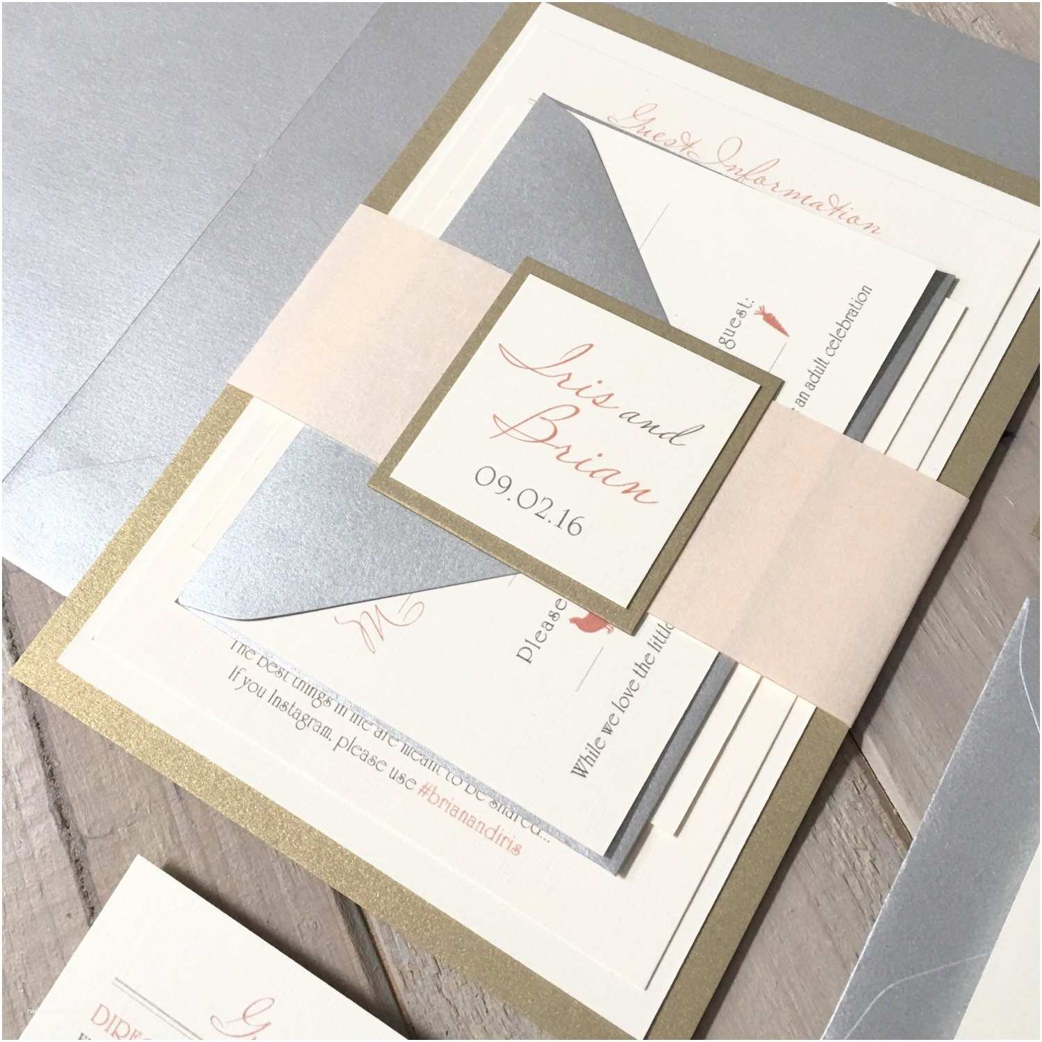 Ivory and Gold Wedding Invitations Blush Ivory and Gold Wedding Invitations Blush Silver and