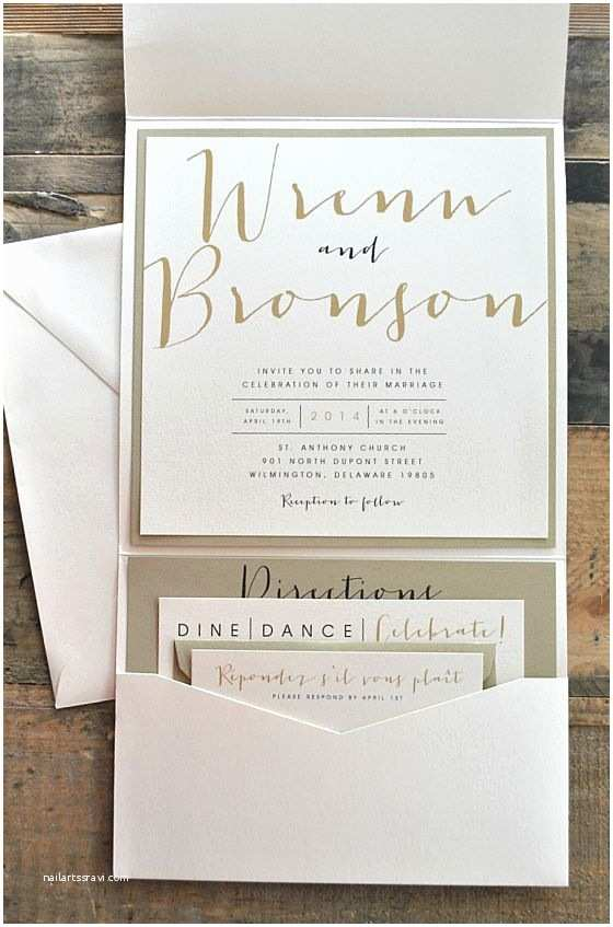Ivory and Gold Wedding Invitations Bronson Wedding Invitation Large Pocketfold with Ribbon