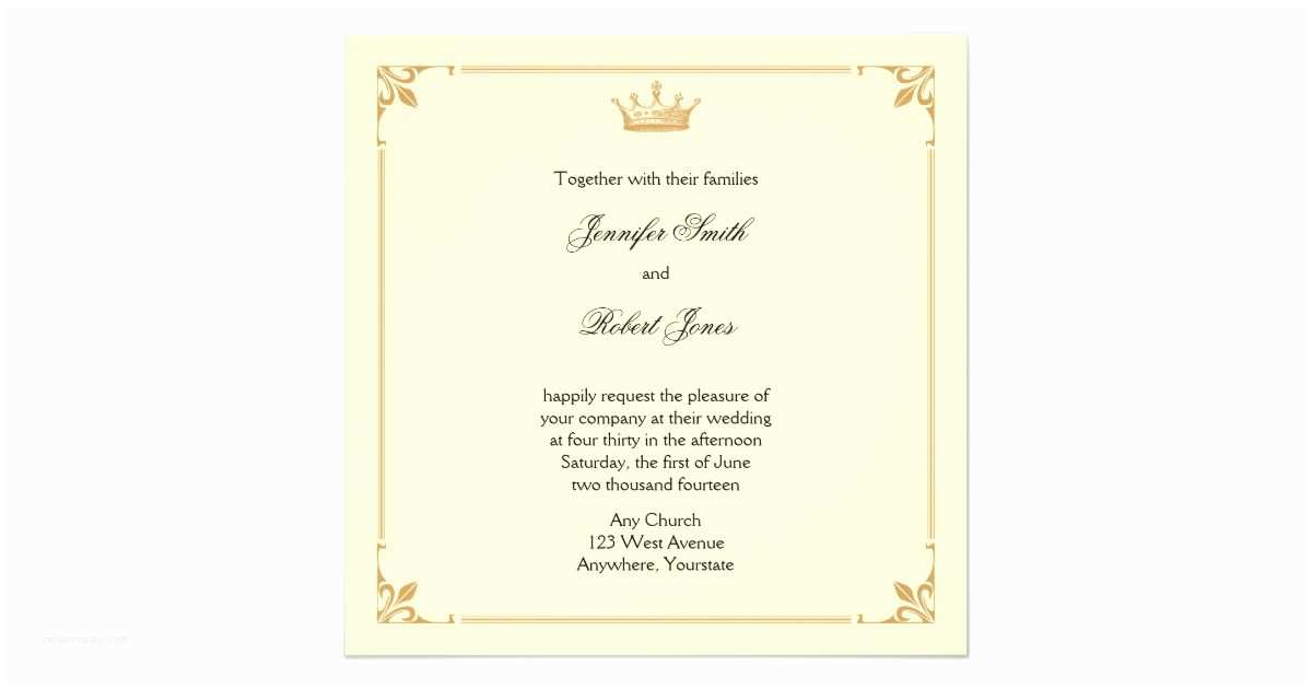 Ivory and Gold Wedding Invitations Crown Regency In Gold and Ivory Wedding Invitation