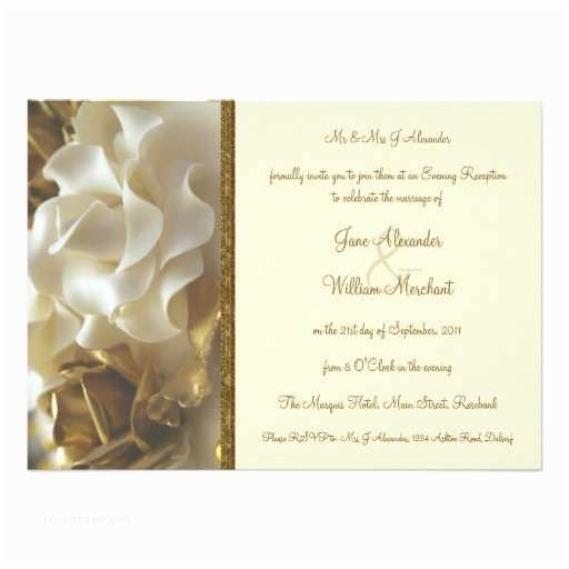 "Ivory and Gold Wedding Invitations evening Invitation Gold & Ivory Wedding Cake Roses 4 5"" X"