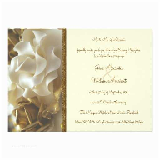 "Ivory and Gold Wedding Invitations evening Invitation Gold & Ivory Wedding Cake Roses 5"" X 7"