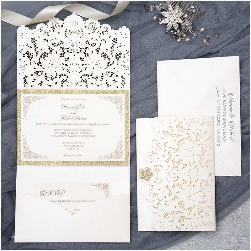 Ivory and Gold Wedding Invitations formal Elegant Ivory and Gold Glittery Pocket Wedding