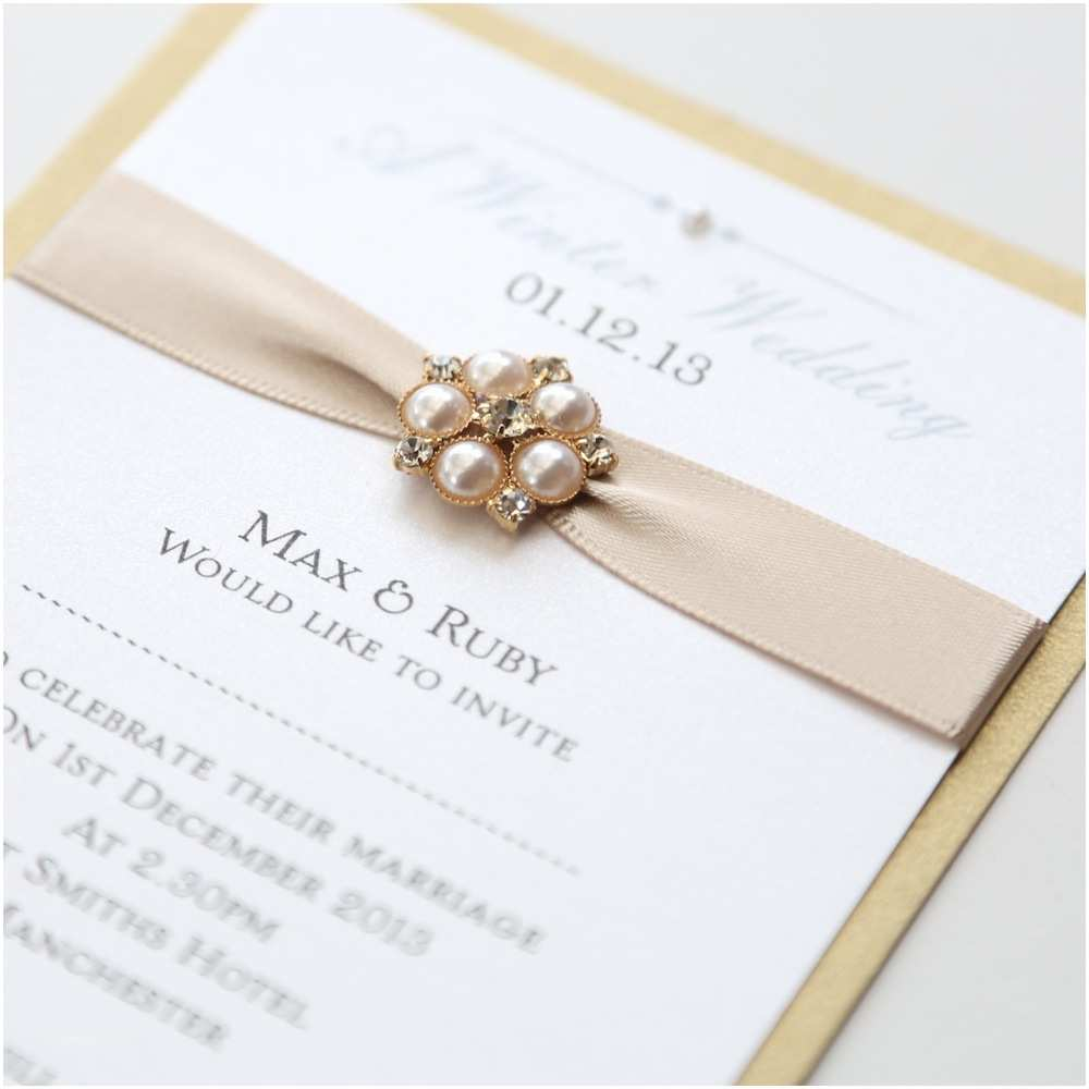 Ivory and Gold Wedding Invitations Gold & Ivory Flat Wedding Invitation with Pearl Brooch