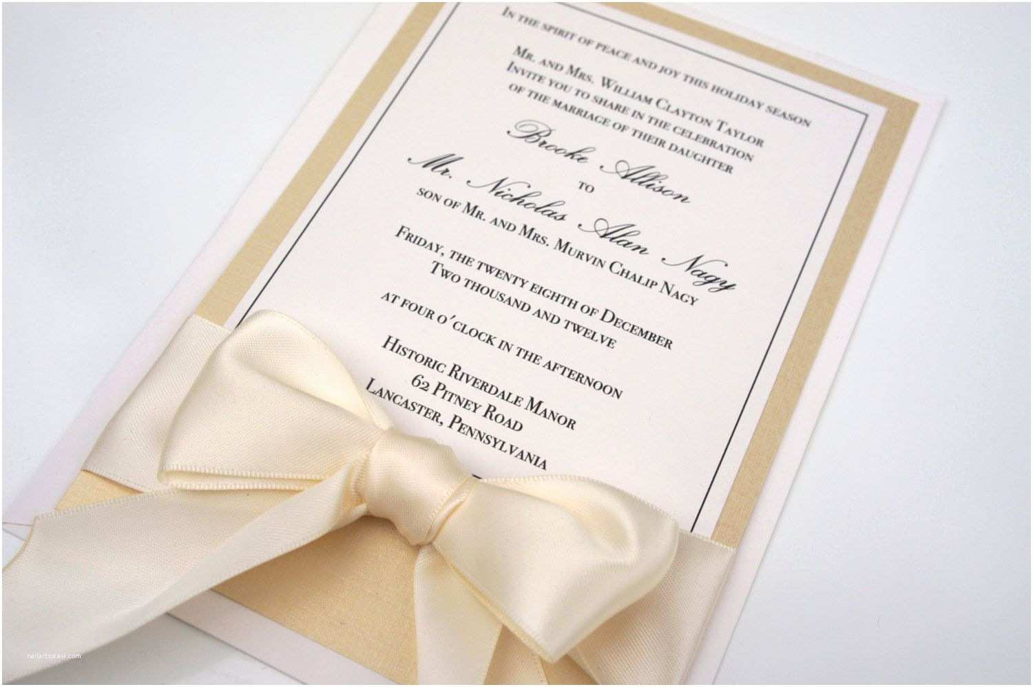 Ivory and Gold Wedding Invitations Gold Champange Invitation