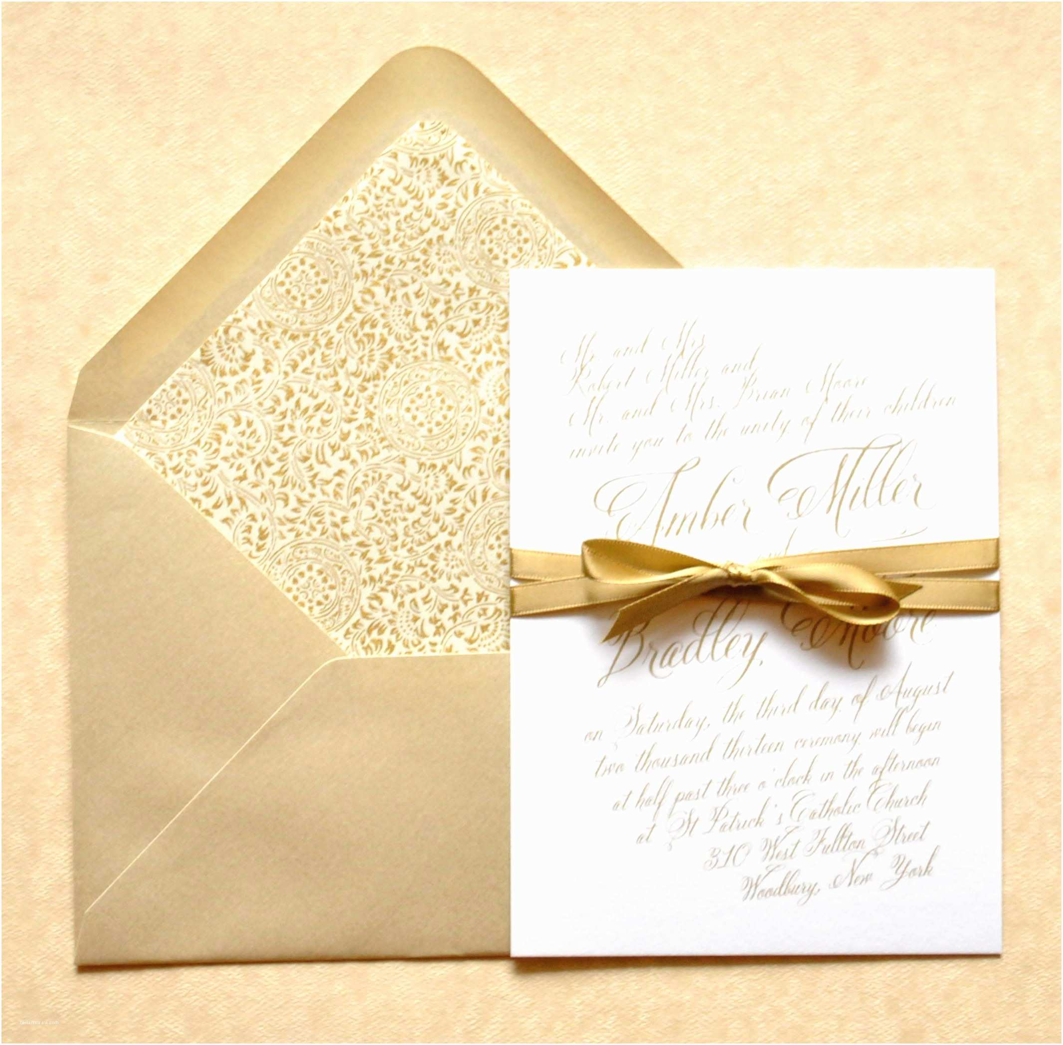 Ivory and Gold Wedding Invitations Gold Wedding Invitations Gold Calligraphy Wedding