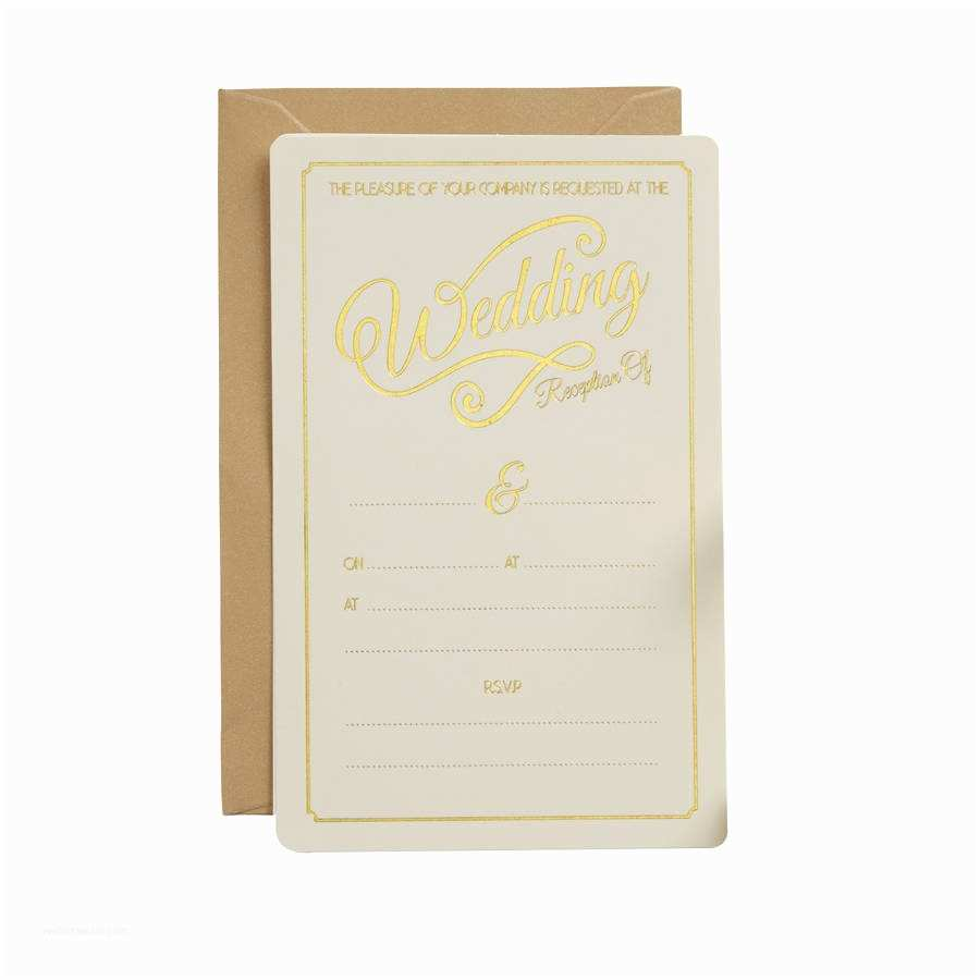 Ivory and Gold Wedding Invitations Ivory and Gold Foiled Wedding evening Invitations by