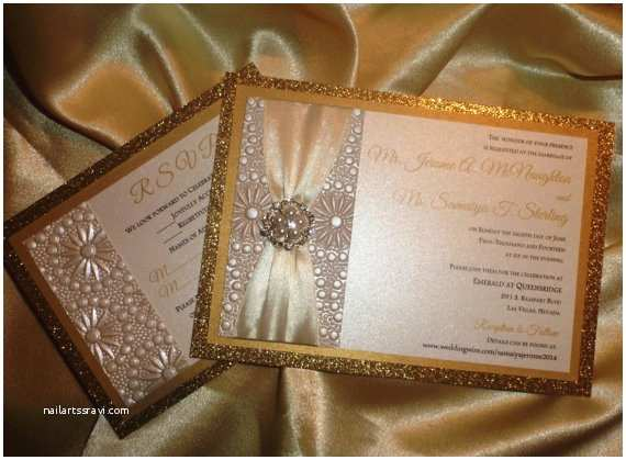 Ivory and Gold Wedding Invitations Ivory and Gold Wedding Invitation Sample by therainbowcolors