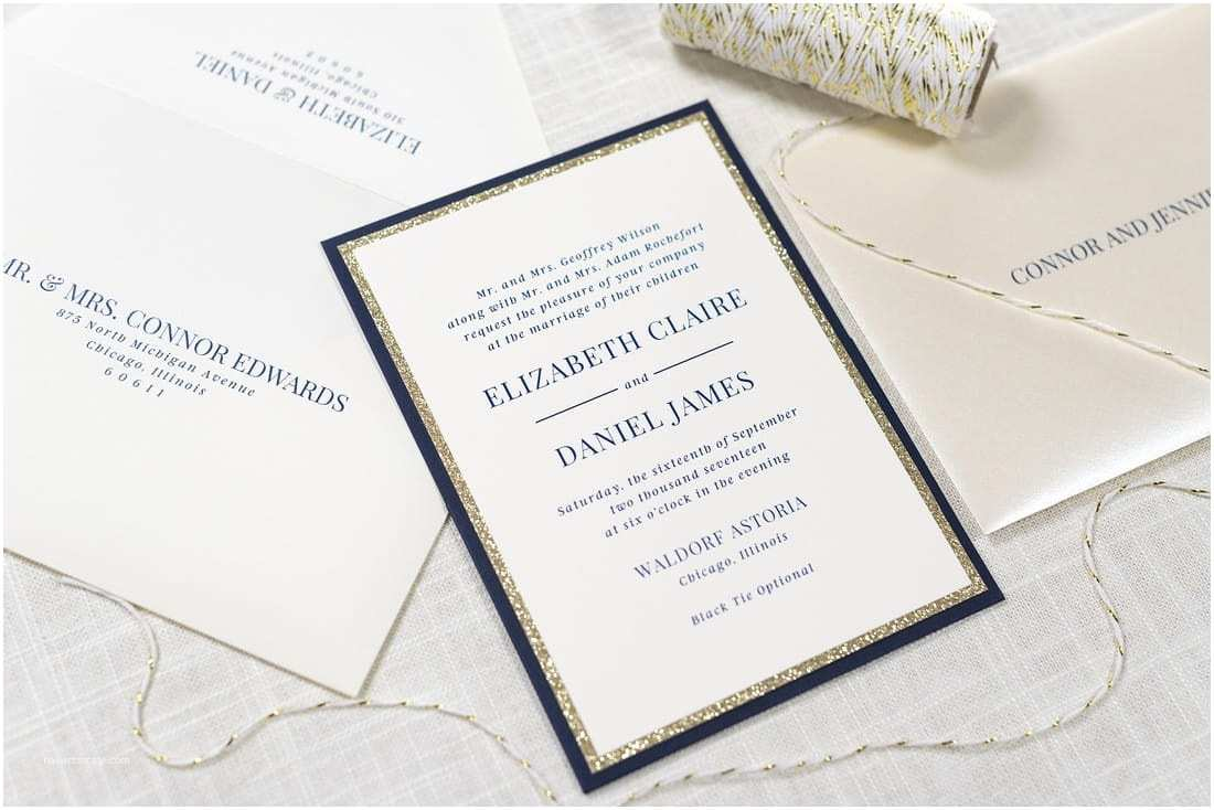 Ivory and Gold Wedding Invitations Ivory Gold Glitter and Navy Panel Pocket Wedding