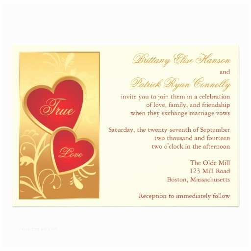 "Ivory and Gold Wedding Invitations Ivory Gold Red Hearts Wedding Invitation 5"" X 7"