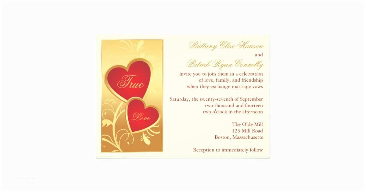 Ivory and Gold Wedding Invitations Ivory Gold Red Hearts Wedding Invitation