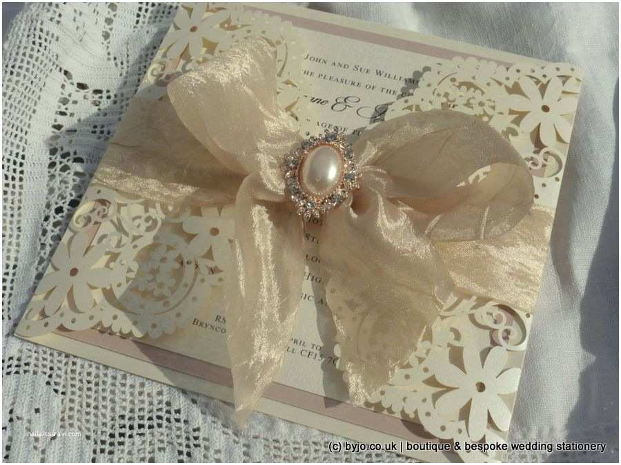 Ivory and Gold Wedding Invitations Laser Cut Wedding Invitation Ivory and Blush Pink with
