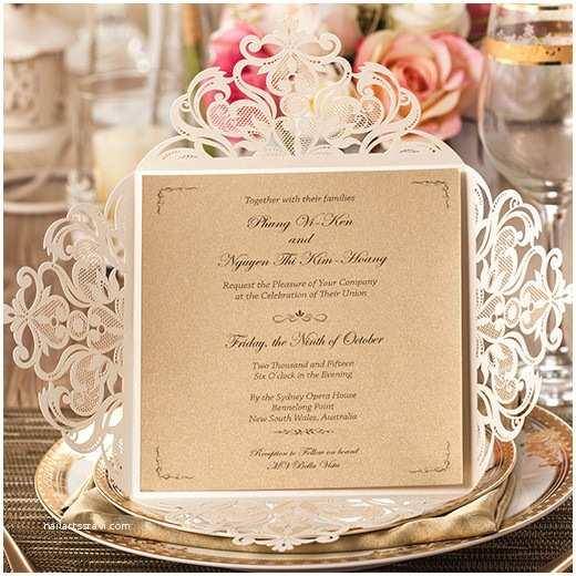 Ivory Laser Cut Wedding Invitations Graceful Ivory Shimmery Laser Cut Wedding Invitation with