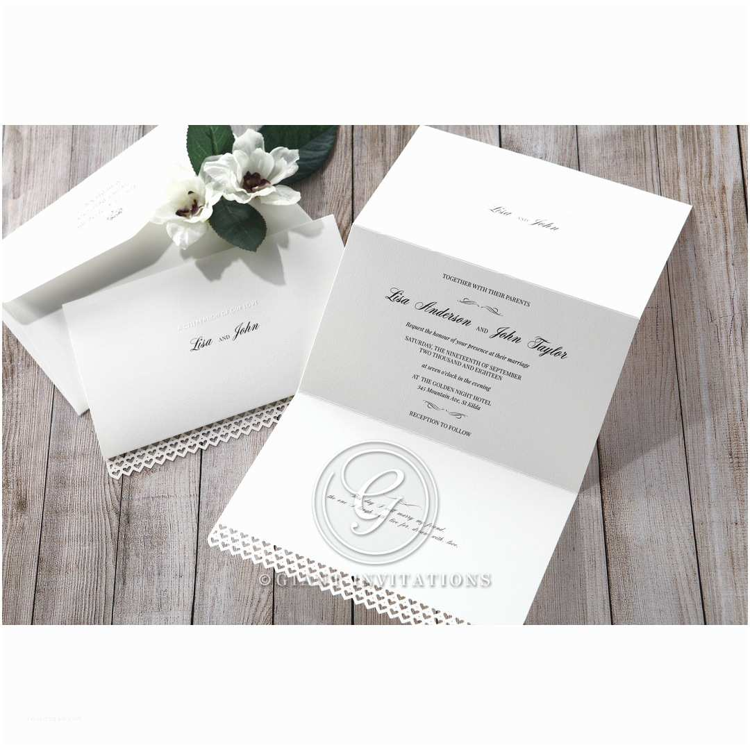Ivory Laser Cut Wedding Invitations Ivory Laser Cut Hearts Wedding Invitations