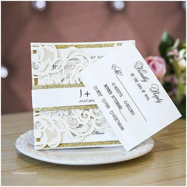 Ivory Laser Cut Wedding Invitations Ivory Laser Cut Wedding Invitations with Glittery Bottom