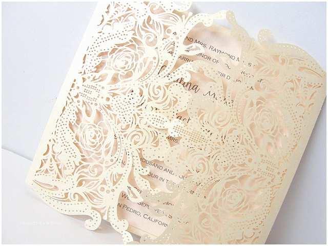 Ivory Laser Cut Wedding Invitations Lace Wedding Invites Lace Wedding Invitations