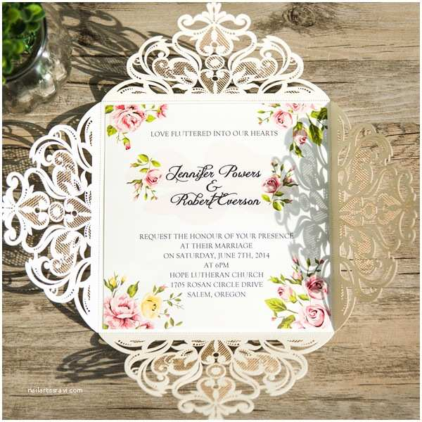 Ivory Laser Cut Wedding Invitations Romantic Peach Flower Spring Ivory Laser Cut Wedding