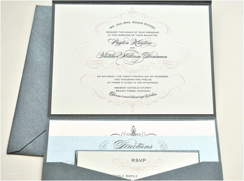 Ivory Pocketfold Wedding Invitations 1943 Wedding Invitation Pocketfold Ivory Silver Peachy