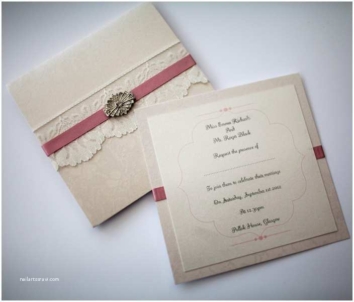 Ivory Pocketfold Wedding Invitations Antique Pink & Ivory Lace & Vintage Brooch Style