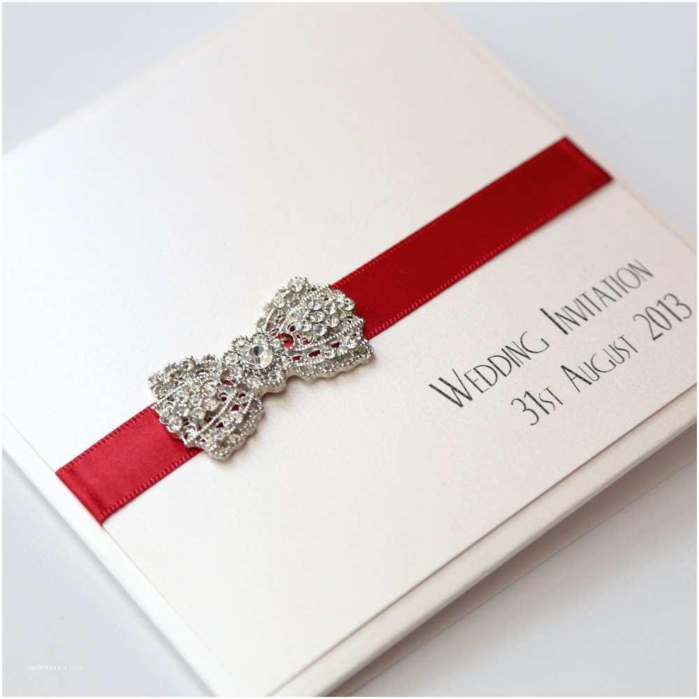Ivory Pocketfold Wedding Invitations Art Deco Bow Pocket Invitation In Ivory & Red Vintage