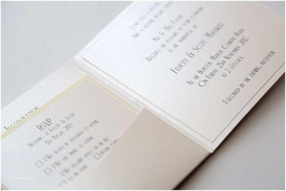 Ivory Pocketfold Wedding Invitations Art Deco Bow Pocket Invitation In Ivory Vintage Wedding
