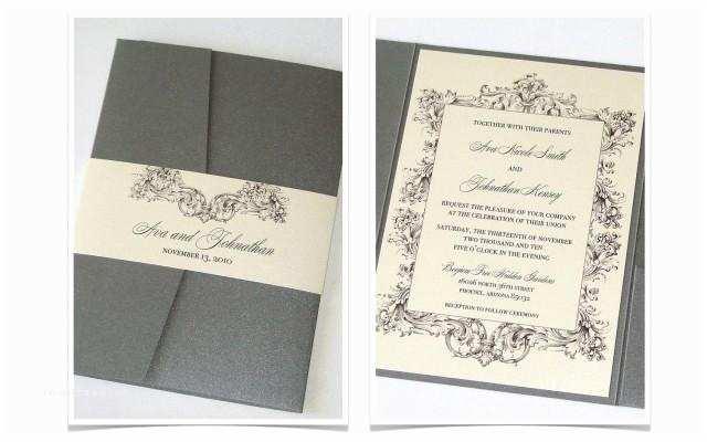 Ivory Pocketfold Wedding Invitations Ava Pocket Fold Vintage Wedding Invitation Sample Ivory