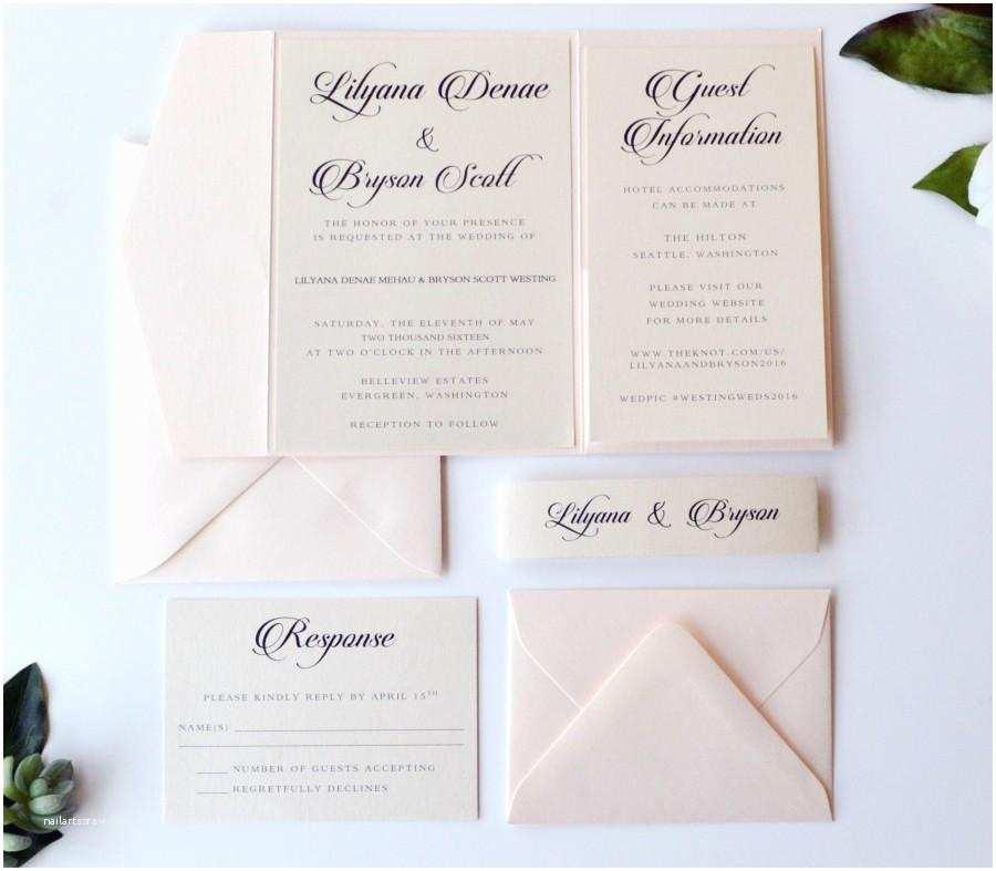 Ivory Pocketfold Wedding Invitations Blush Wedding Invitation Pocketfold Wedding Invitation