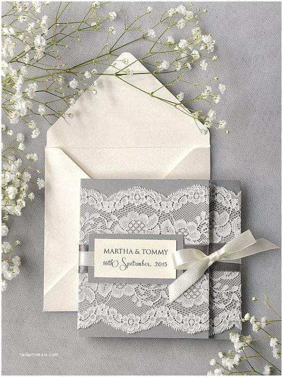 Ivory Pocketfold Wedding Invitations Custom Listing 100 Ivory Lace Wedding Invitation Grey