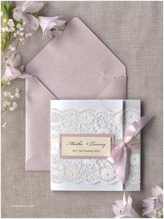 Ivory Pocketfold Wedding Invitations Custom Listing 100 Pink Lace Wedding Invitation Ivory