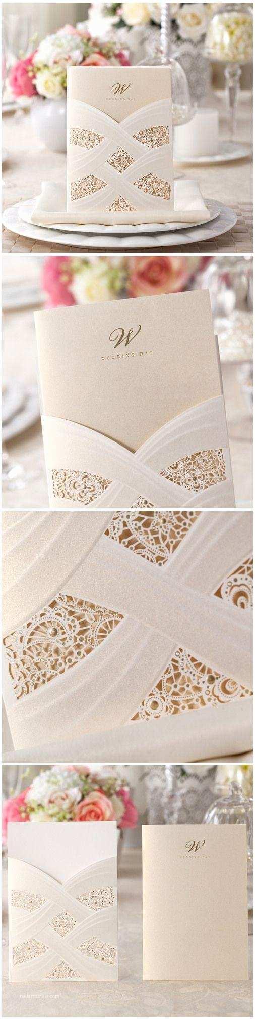 Ivory Pocketfold Wedding Invitations Elegant Foil Stamped Laser Cut Ivory Pocket Wedding