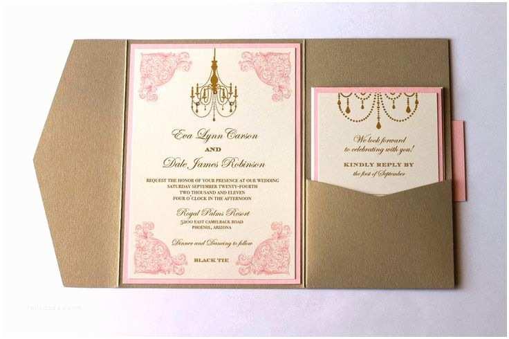 Ivory Pocketfold Wedding Invitations Eva Pocket Fold Vintage Wedding Invitation Ivory Gold