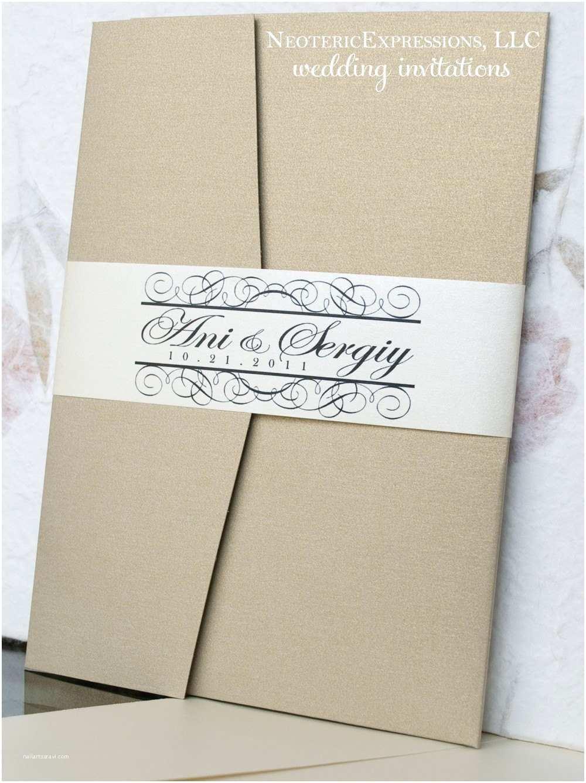 Ivory Pocketfold Wedding Invitations Gold and Ecru Ivory Wedding Invitation Pocketfold by